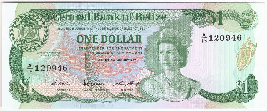 Belize, 1 Dollar 1.1.1987